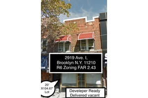 2919 Avenue I, Brooklyn New York 11210. A Mix-Use Development Opportunity, with air rights 12,000 ft. buildable space, R6 Zoning 2.43 FAR, also a combo deal is possible with an additional 4, adjacent lot's with approx 60,000 ft. of buildable space.
